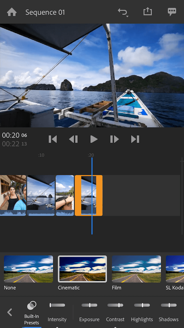 Adobe Premiere Rush video editor themes