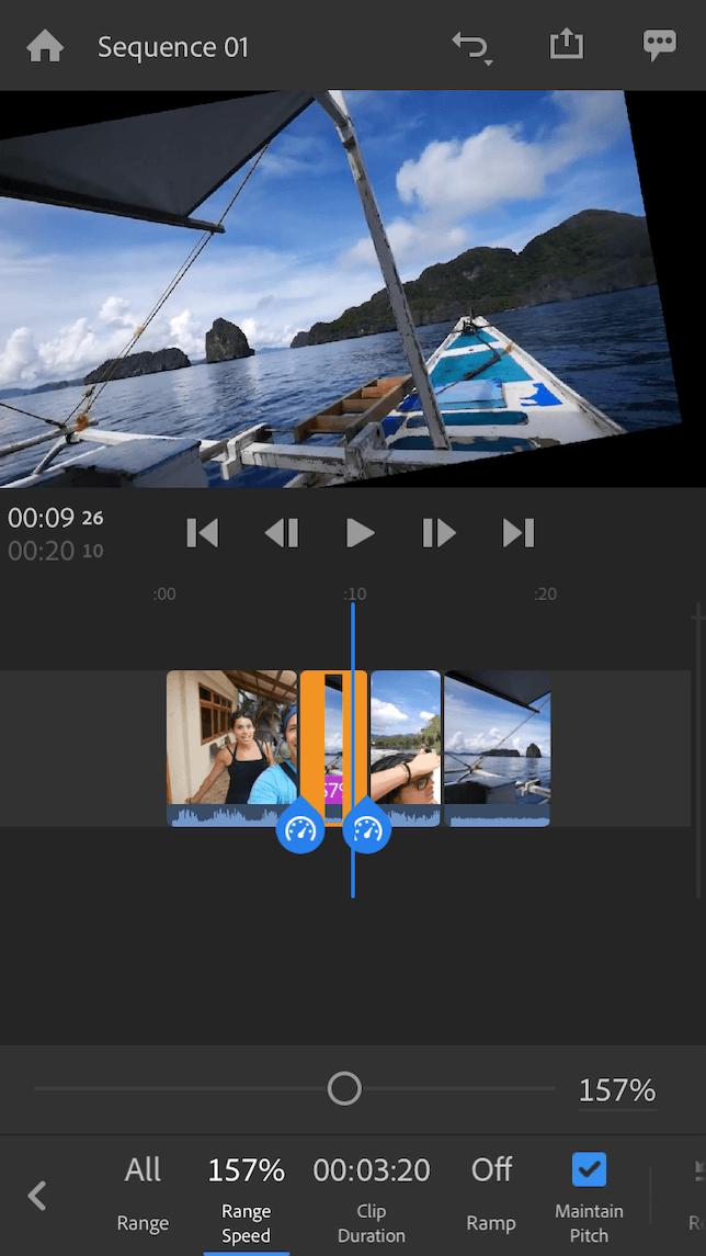 Adobe Premeire Rush video editing timeline