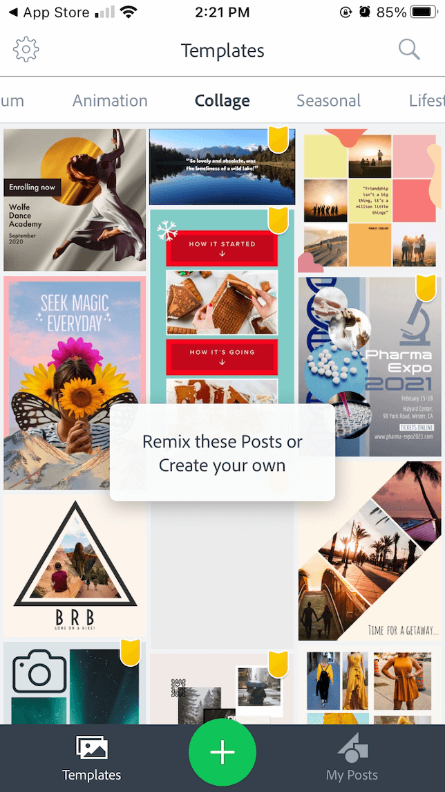 A variety of collage templates in Adobe Spark Post