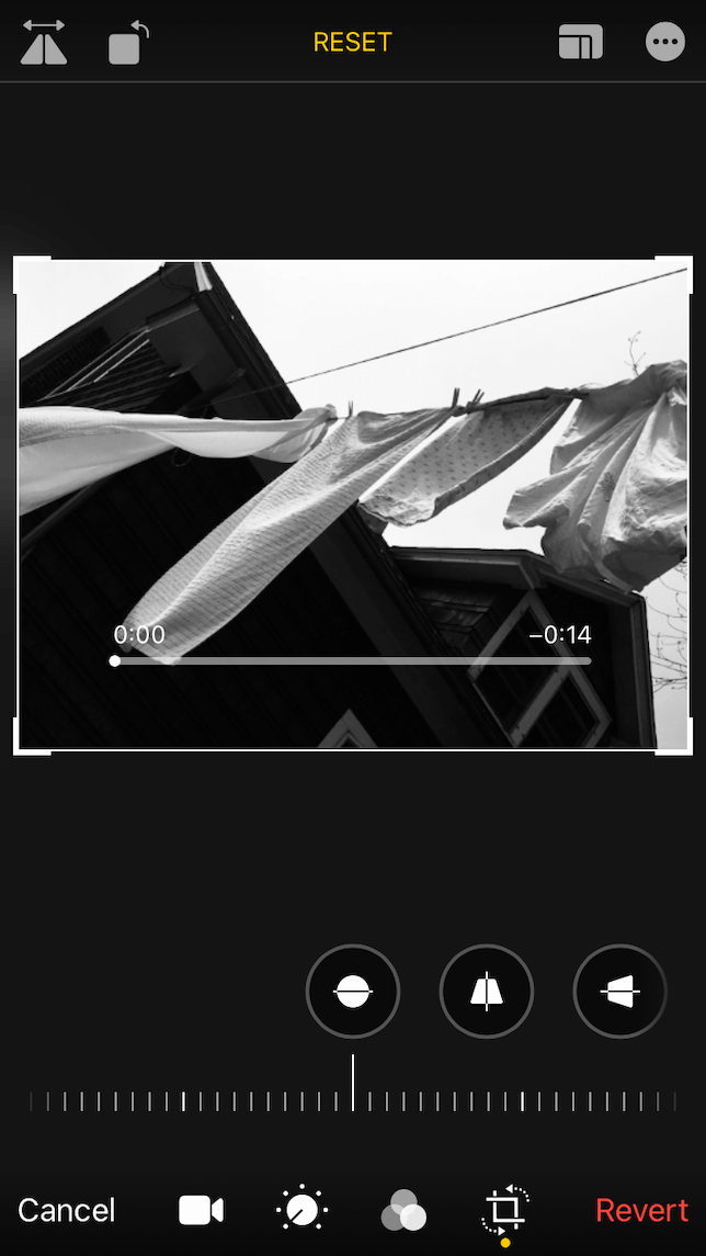 A screenshot showing how to crop a video on iphone