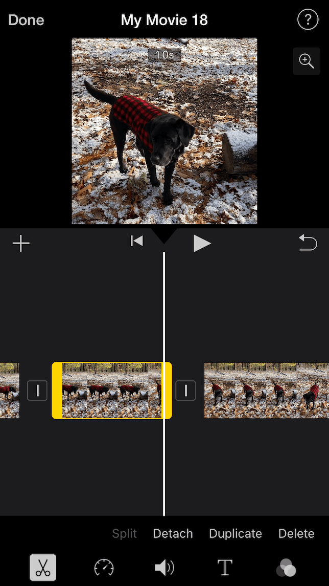 A screenshot show how to cut out video clips with iMovie