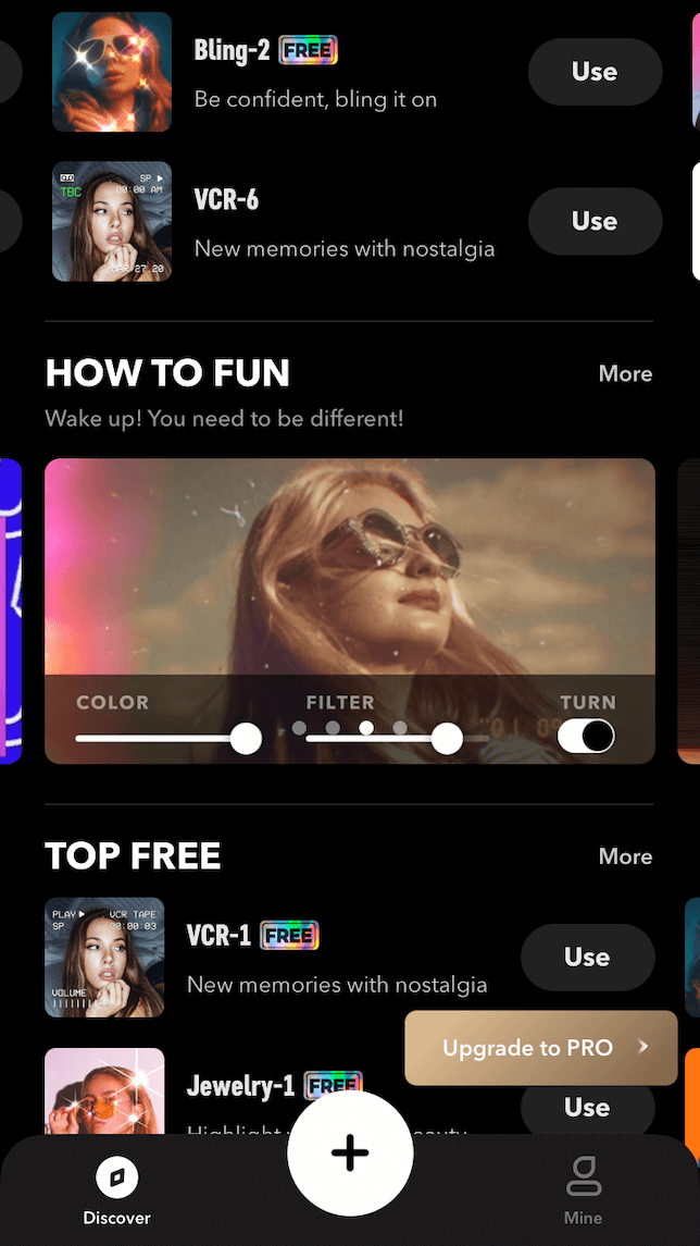 free and paid filters from Filto video editing app