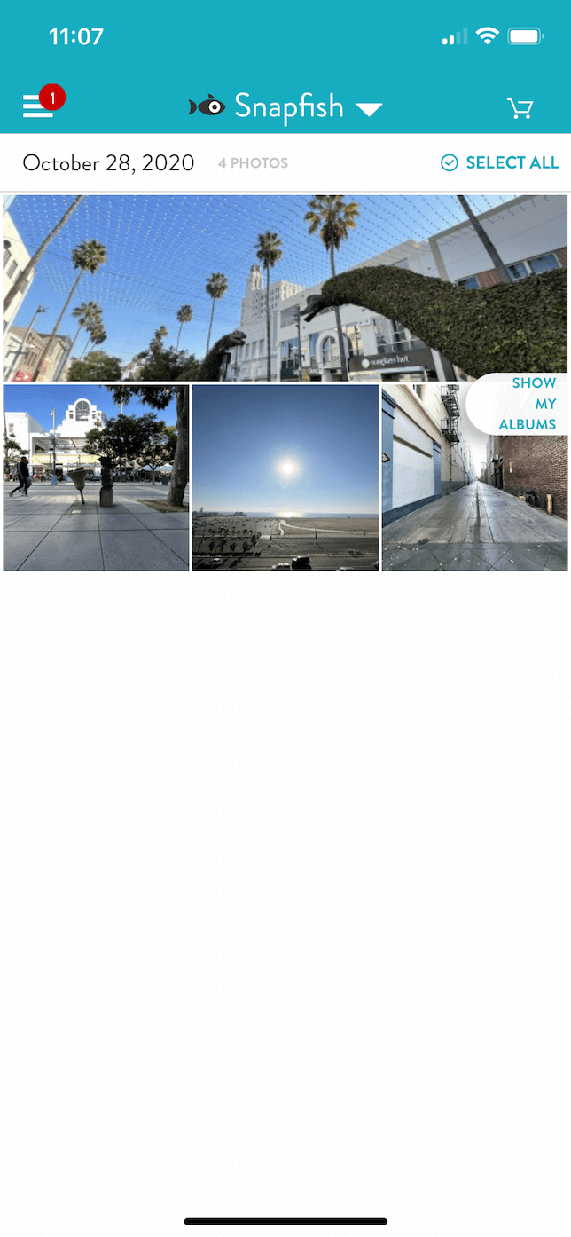 Screenshot of photo album in Snapfish for iOS.