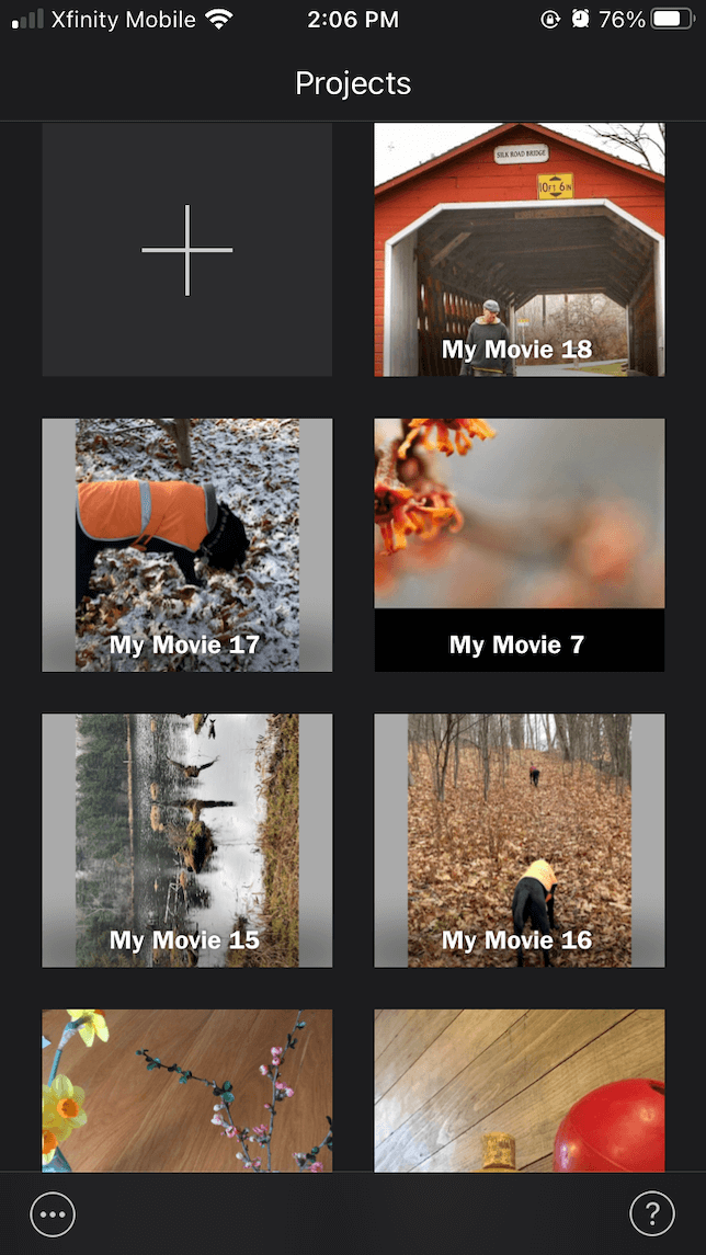 imovie video editing app project screen
