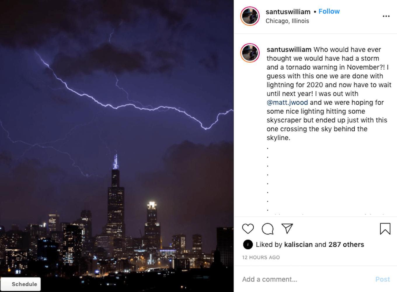 An instagram screenshot showing a lightning strike over a cityscape