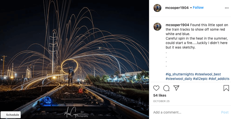 An Instagram screenshot featuring steel wool painting