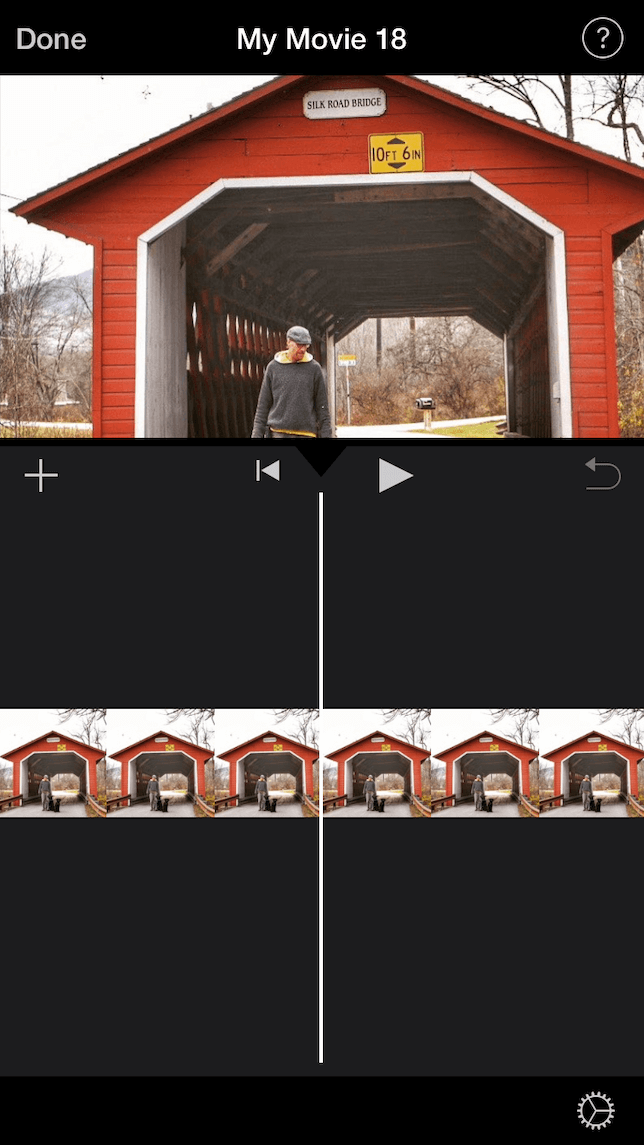 A screenshot demonstrating how to merge video clips using iMovie
