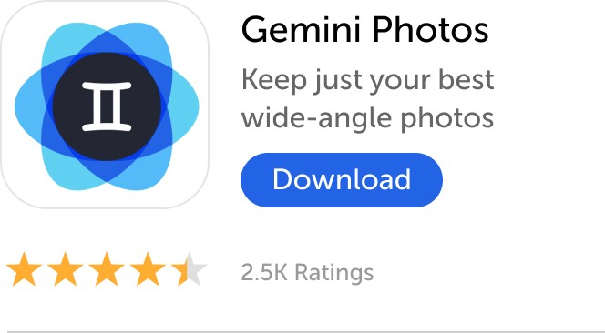 Mobile banner: Download Gemini Photos and keep just your best wide-angle photos