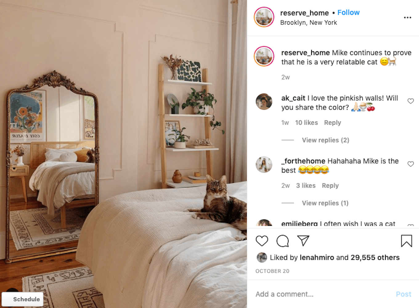 An Instagram photo featuring a white bed with a cat lying on it using natural light photography.