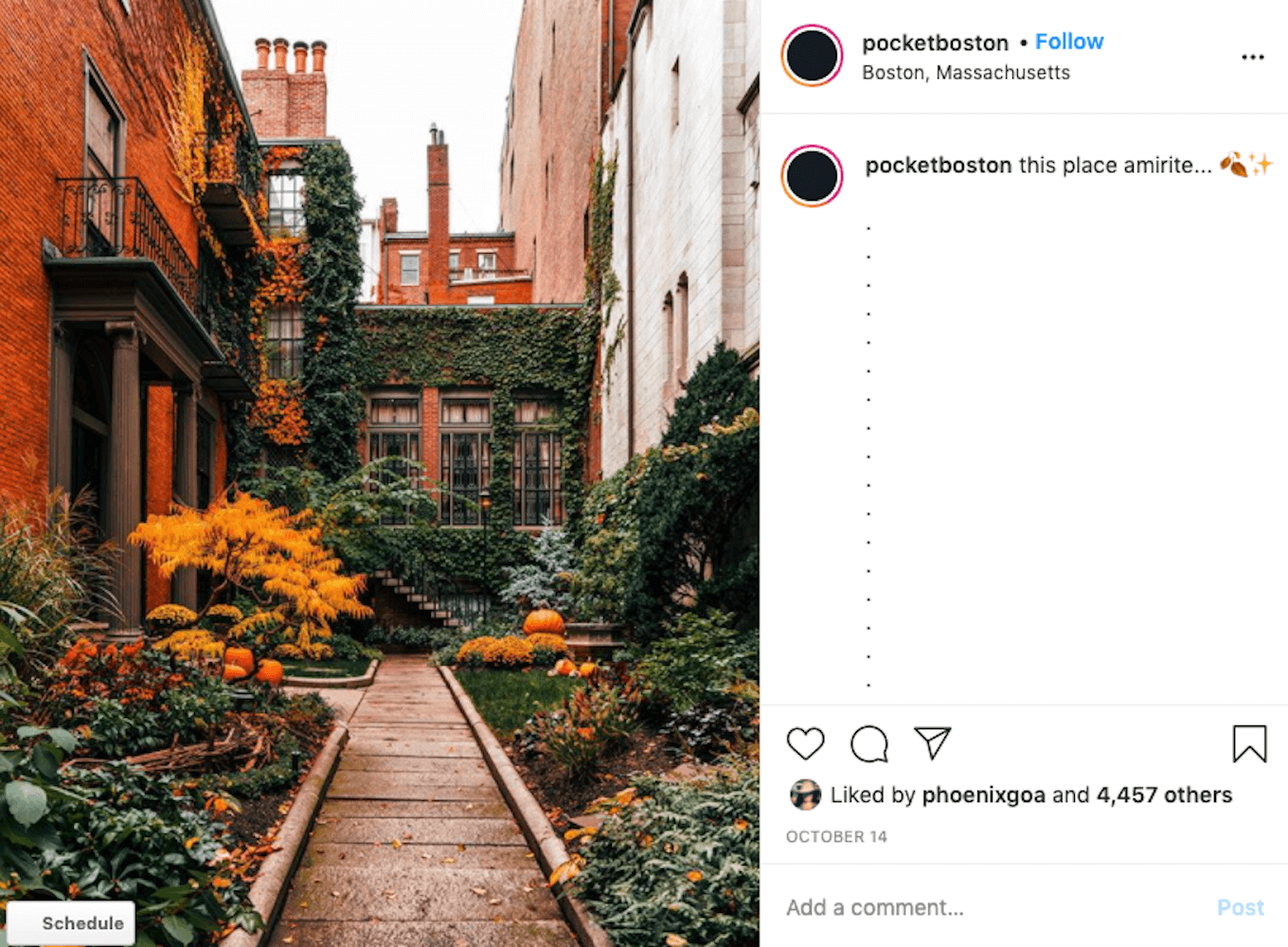 I colorful shot of brick buildings and an alleyway on Instagram.