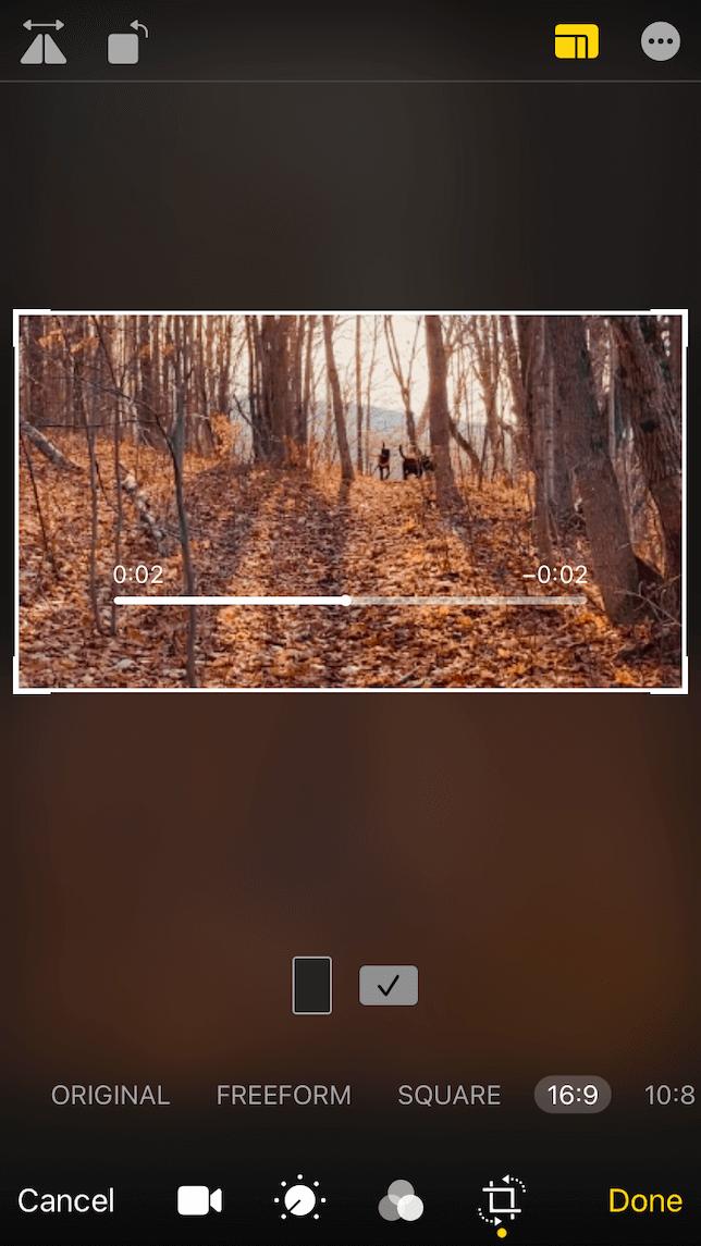 screenshot for using native photos app to edit videos