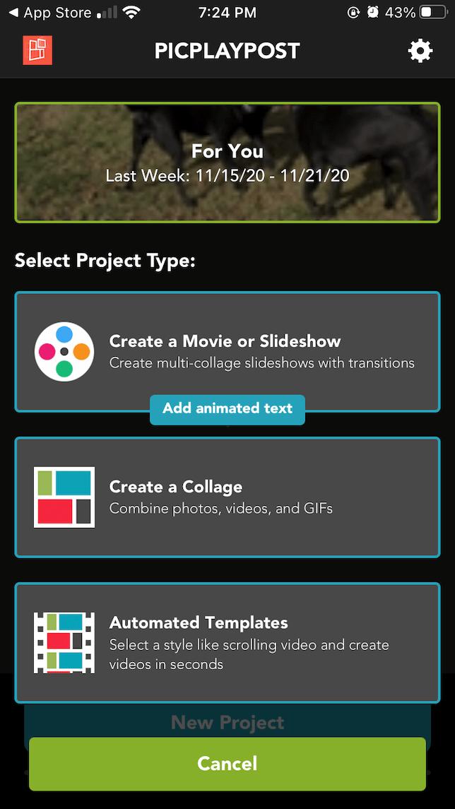 intro screen for PicPlayPost video editor app