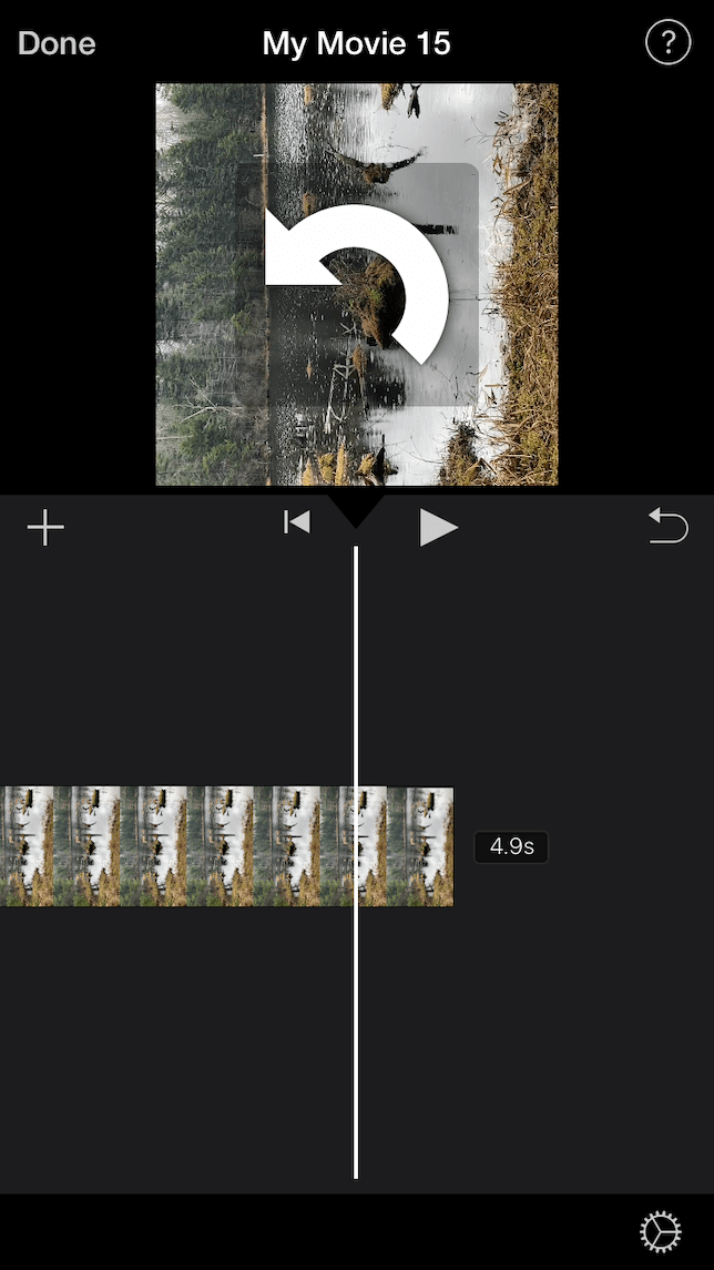 A screenshot showing how to rotate a video with iMovie