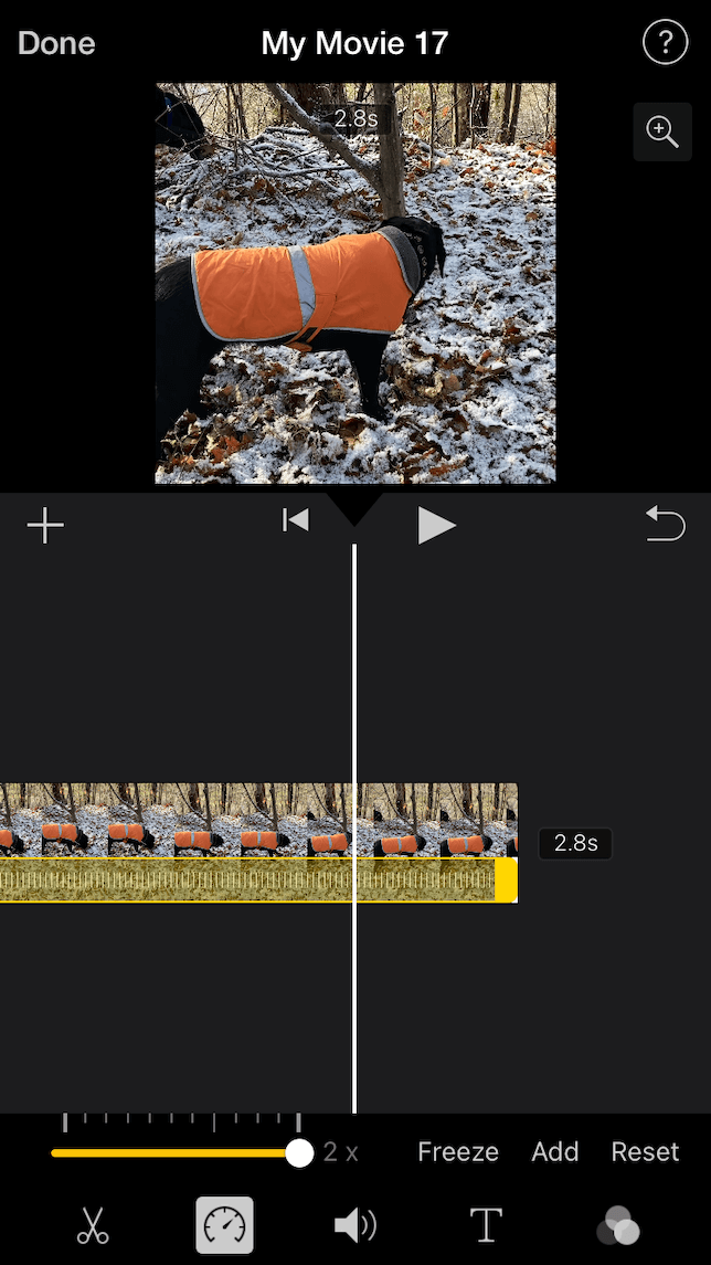 A screenshot showing how to speed up or slow down a video on iPhone