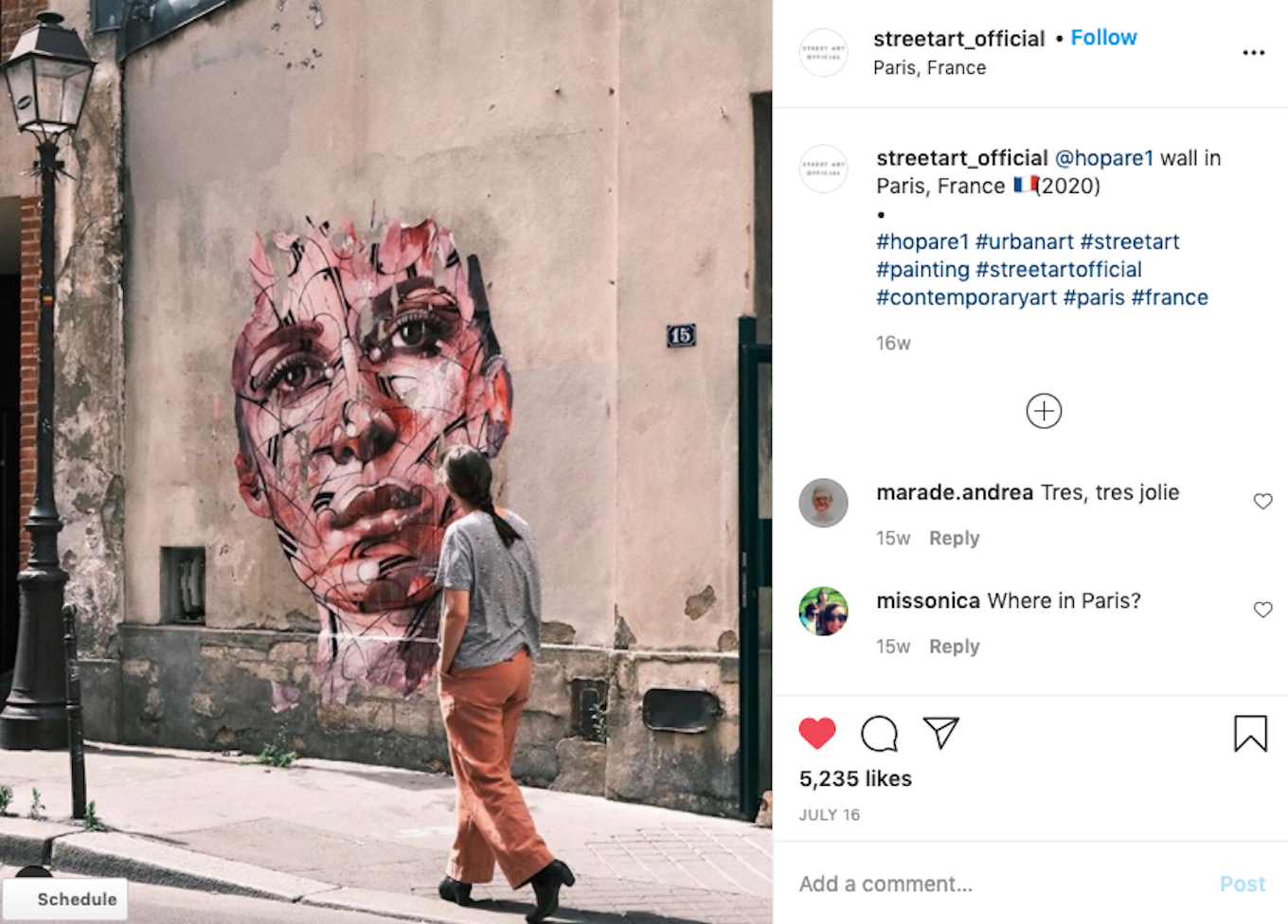 An Instagram screenshot featuring a mural of a woman's face. Another woman is walking by looking at the mural.