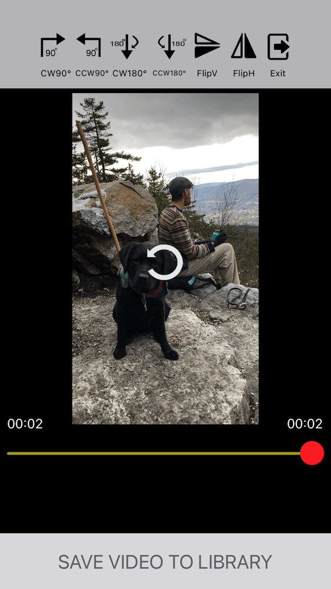 A screenshot demonstrating how to flip a video with Video Rotate and Flip for iPhone