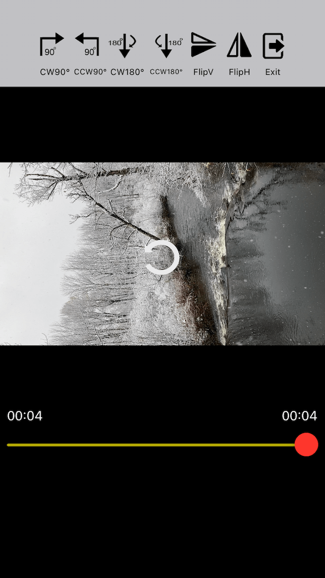 A screenshop demonstrating how to rotate a video with Video Rotate and Flip for iPhone