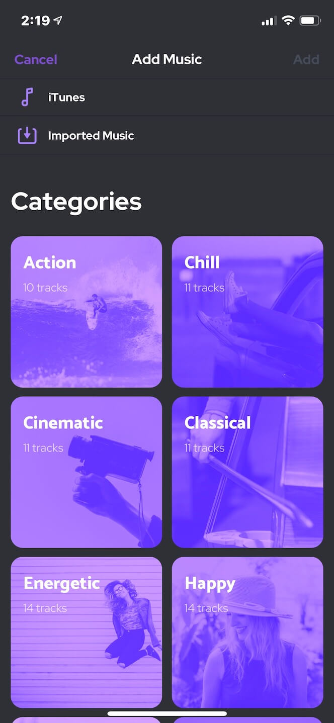 Second screenshot showing Background Music Video app