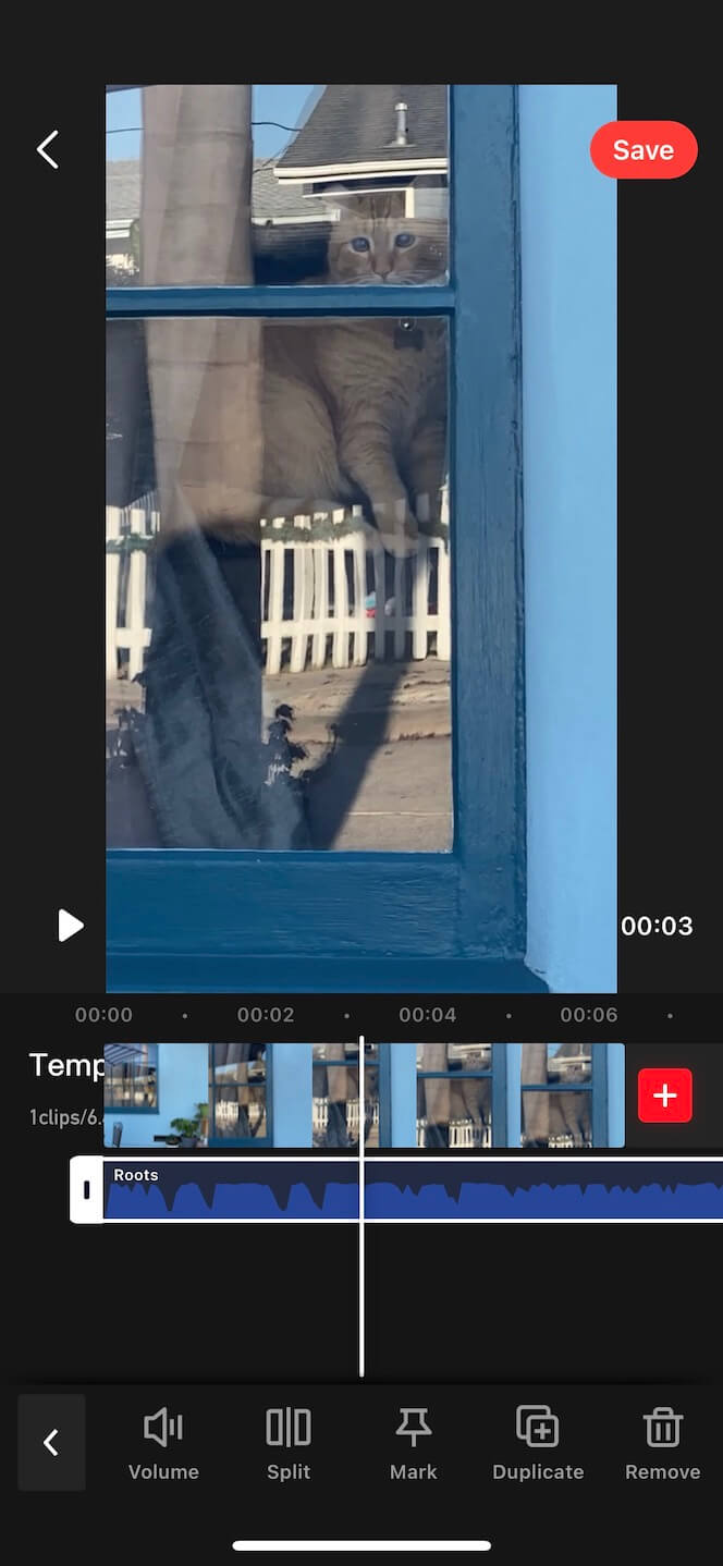 Second screenshot showing how to add music to video with Tempo app