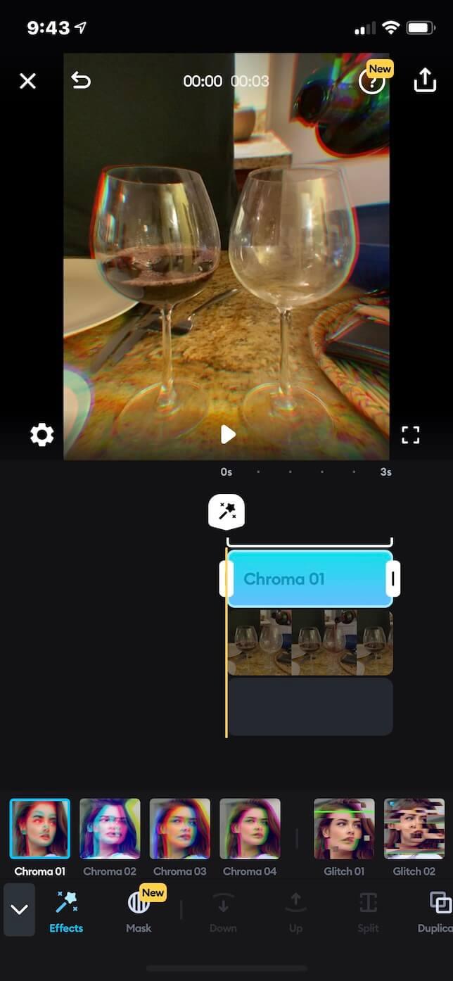 Screenshot showing Splice app
