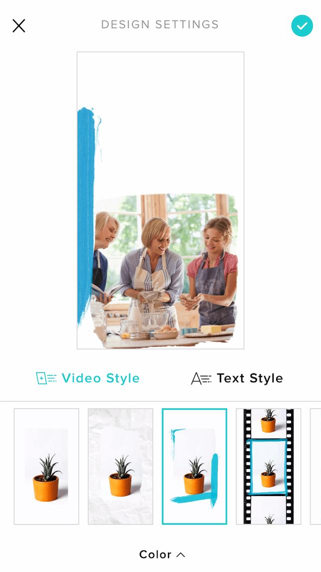 Choosing a design for a recipe video using Animoto