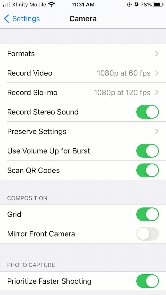 a screenshot showing how to use volume up for burst mode in iOS 14