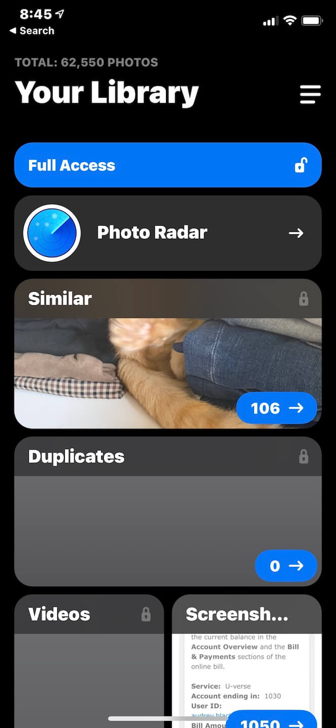 Screenshot showing how to clean out iPhone photos using Gemini Photos