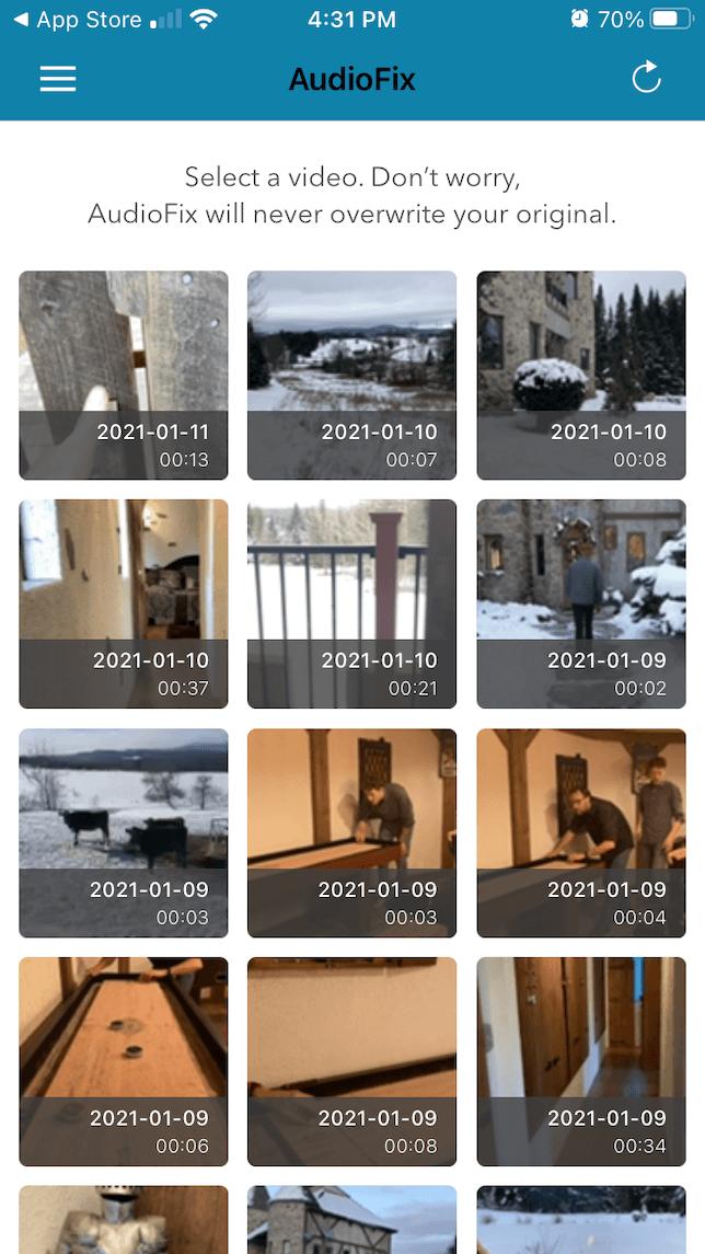 Choosing a video to make audio adjustments using AudioFix