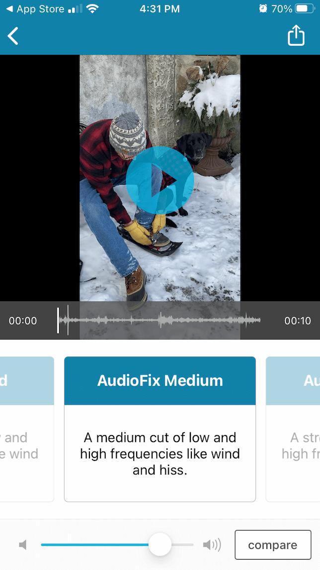 A screenshot demonstrating the audio adjustment process using AudioFix