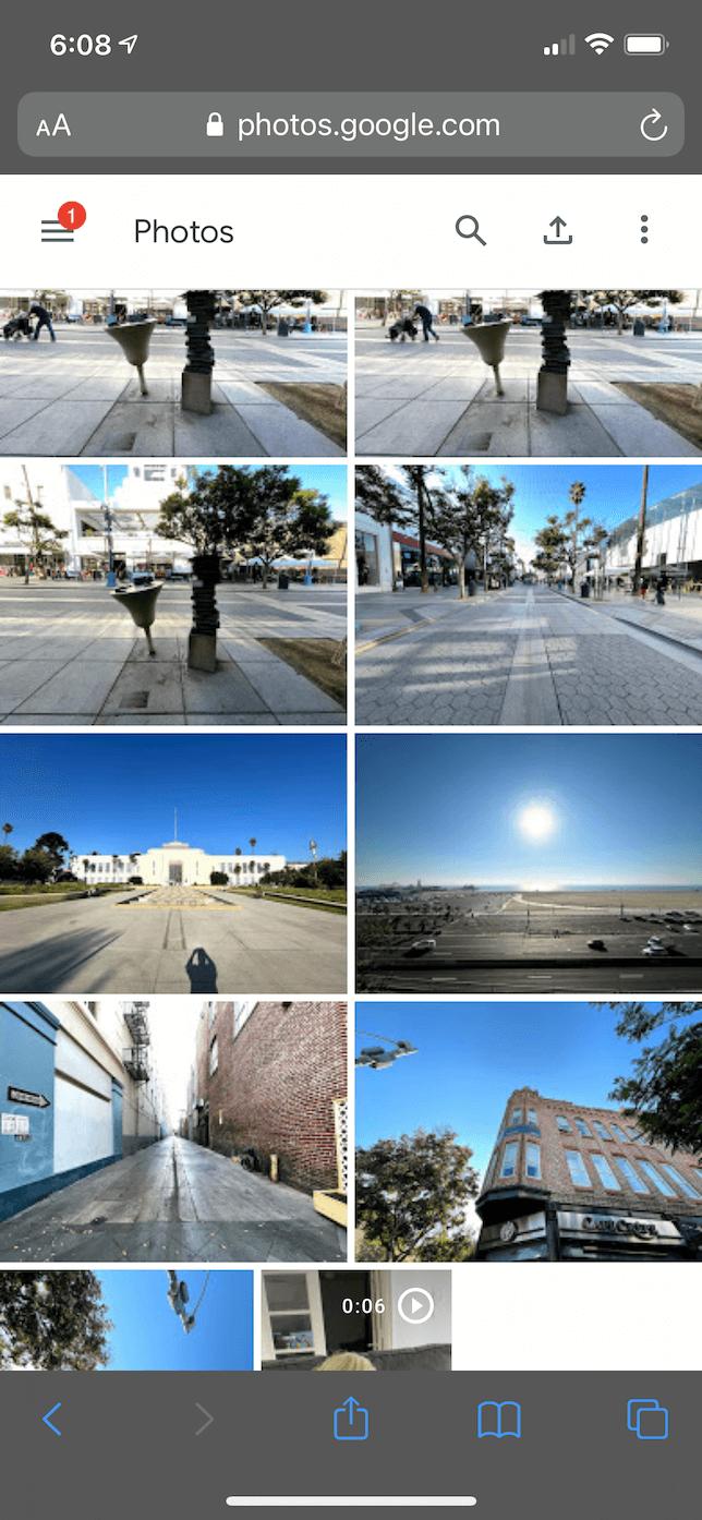 Screenshot of Google Photos in Safari on iOS.