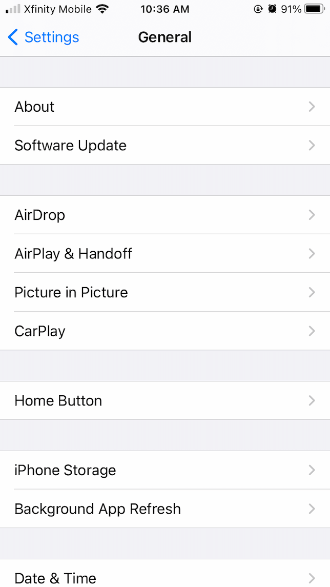Where to find the AirDrop setting on iPhone