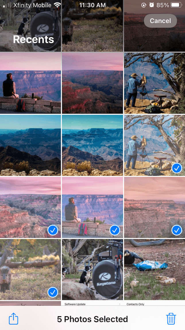 Select photos before AirDropping them to your Mac