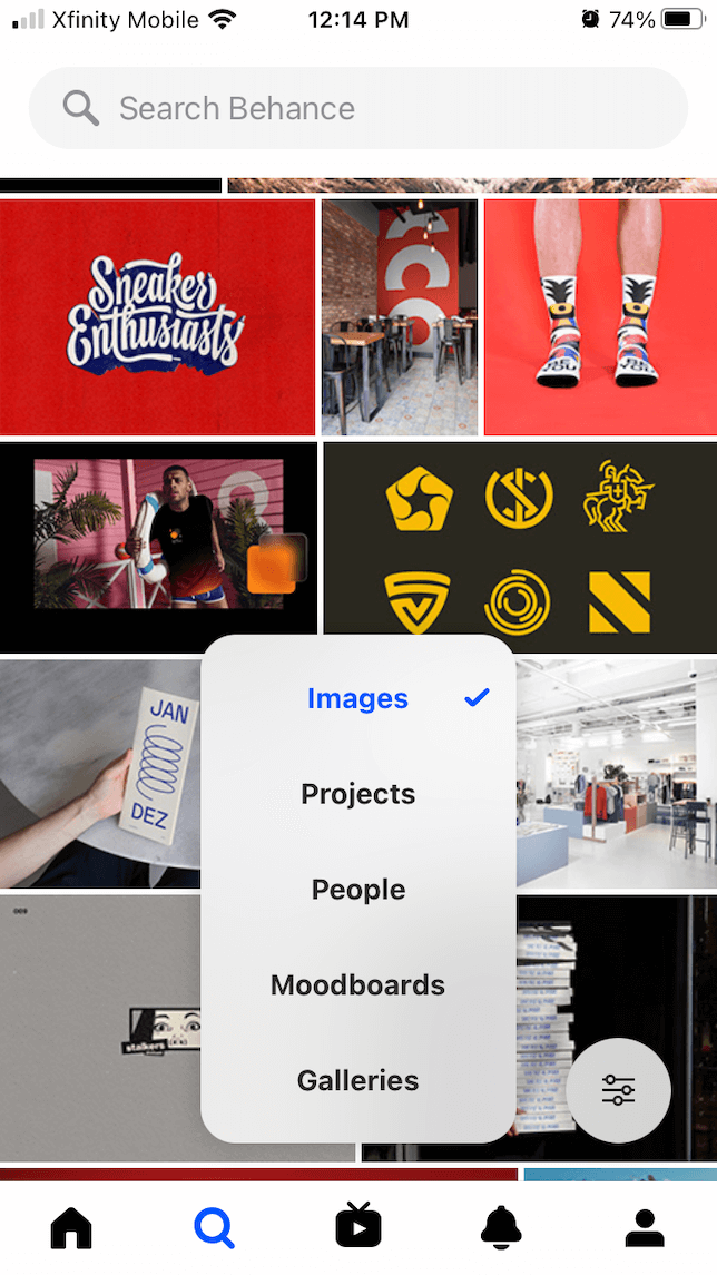 A screenshot showing the social feed in Behance.