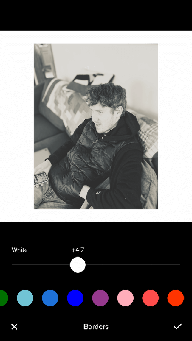 A screenshot showing a photo after a border is added in VSCO.