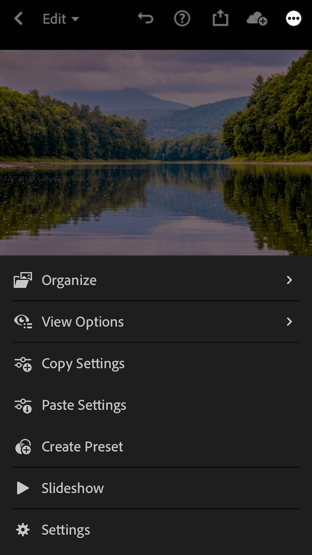 A screenshot showing the Create Preset feature in Lightroom mobile.