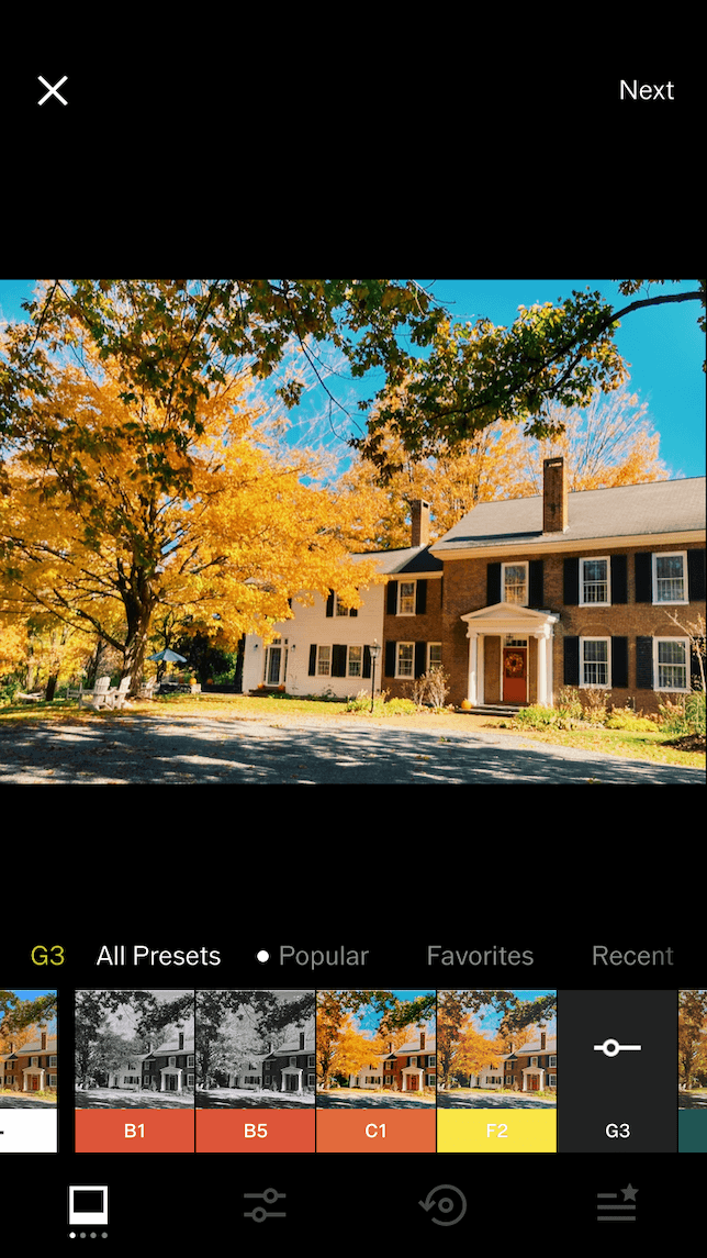A screenshot demonstrating different presets in VSCO.