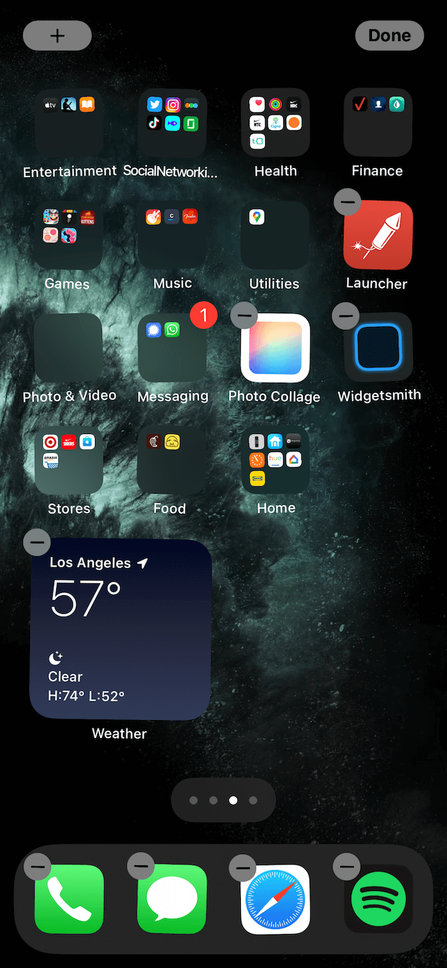 Screenshot of the add menu on the Home Screen.