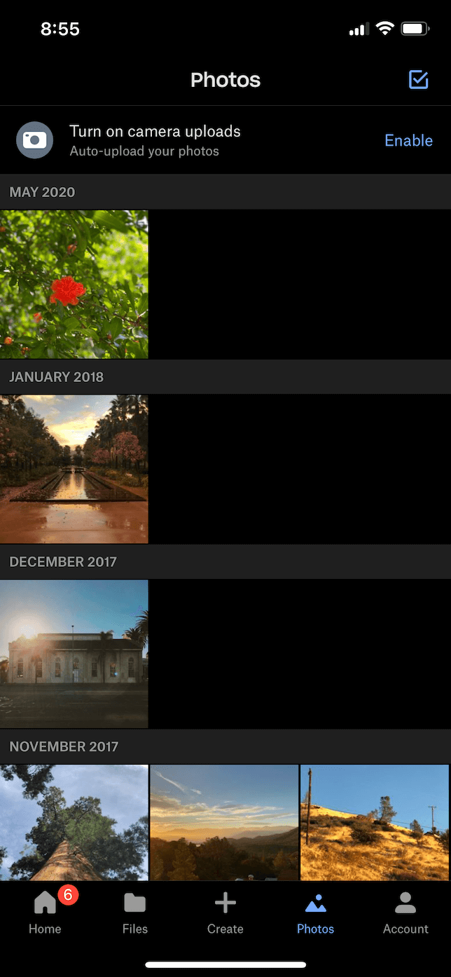 Screenshot of Photos tab in Dropbox app.