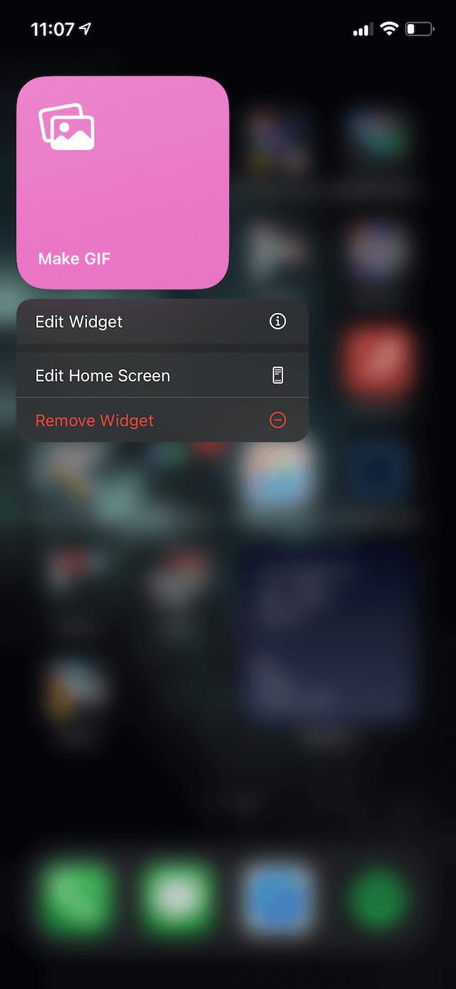 Screenshot of the edit action menu on an iOS widget.