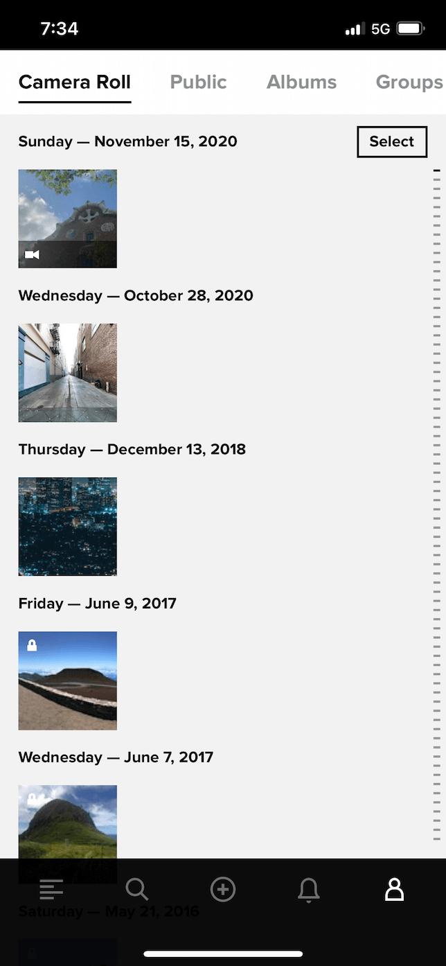 Screenshot of Flickr app.