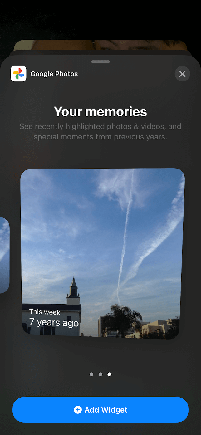 Screenshot of the Google Photos widget in the Selection menu.