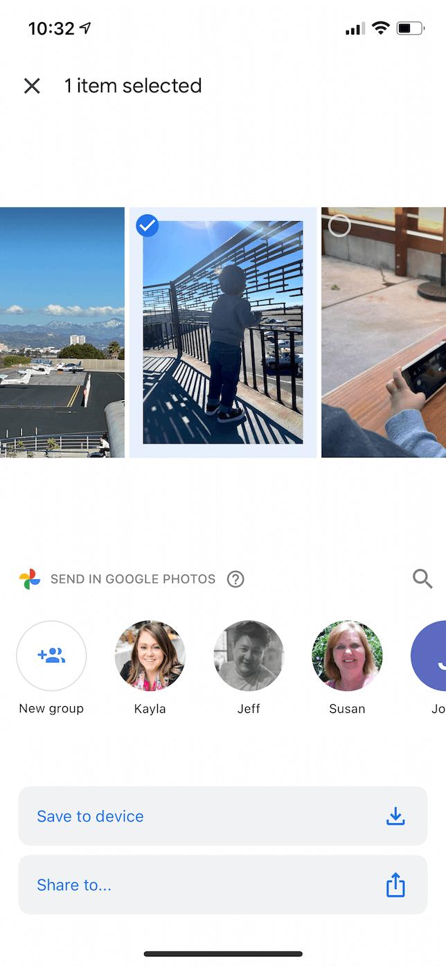 Screenshot of the Save menu in Google Photos.