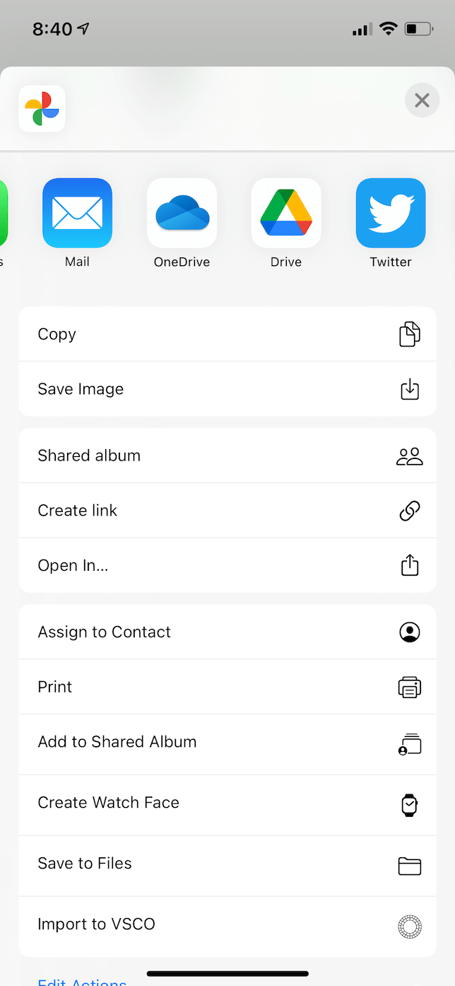 Screenshot of more save options in Google Photos for iOS.