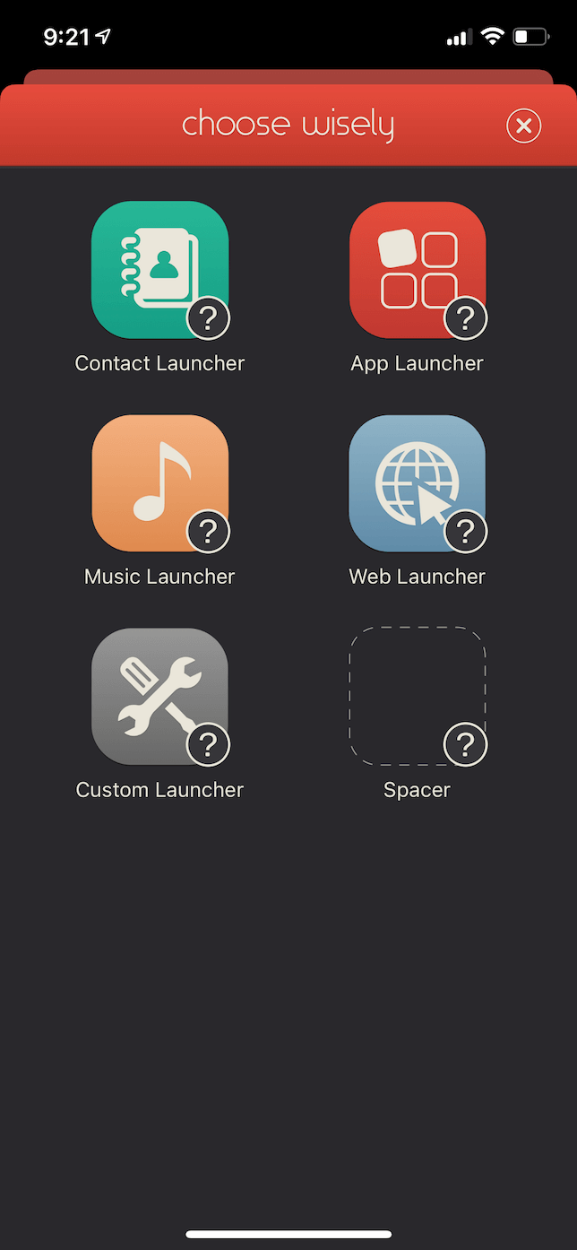 Screenshot of the Customize page in the Launcher app.