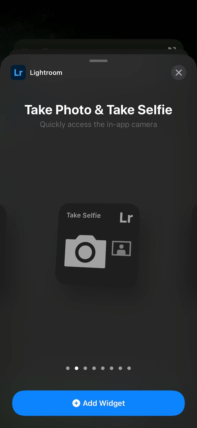 Screenshot of the Lightroom widget selection.