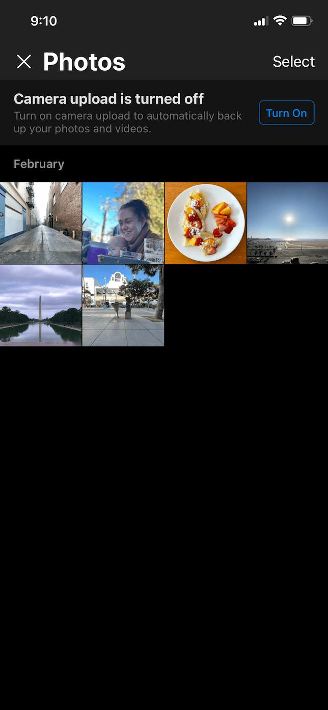 Screenshot of Photos in OneDrive app.