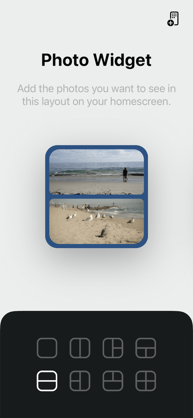 Screenshot setting up Photo Widget Collage.