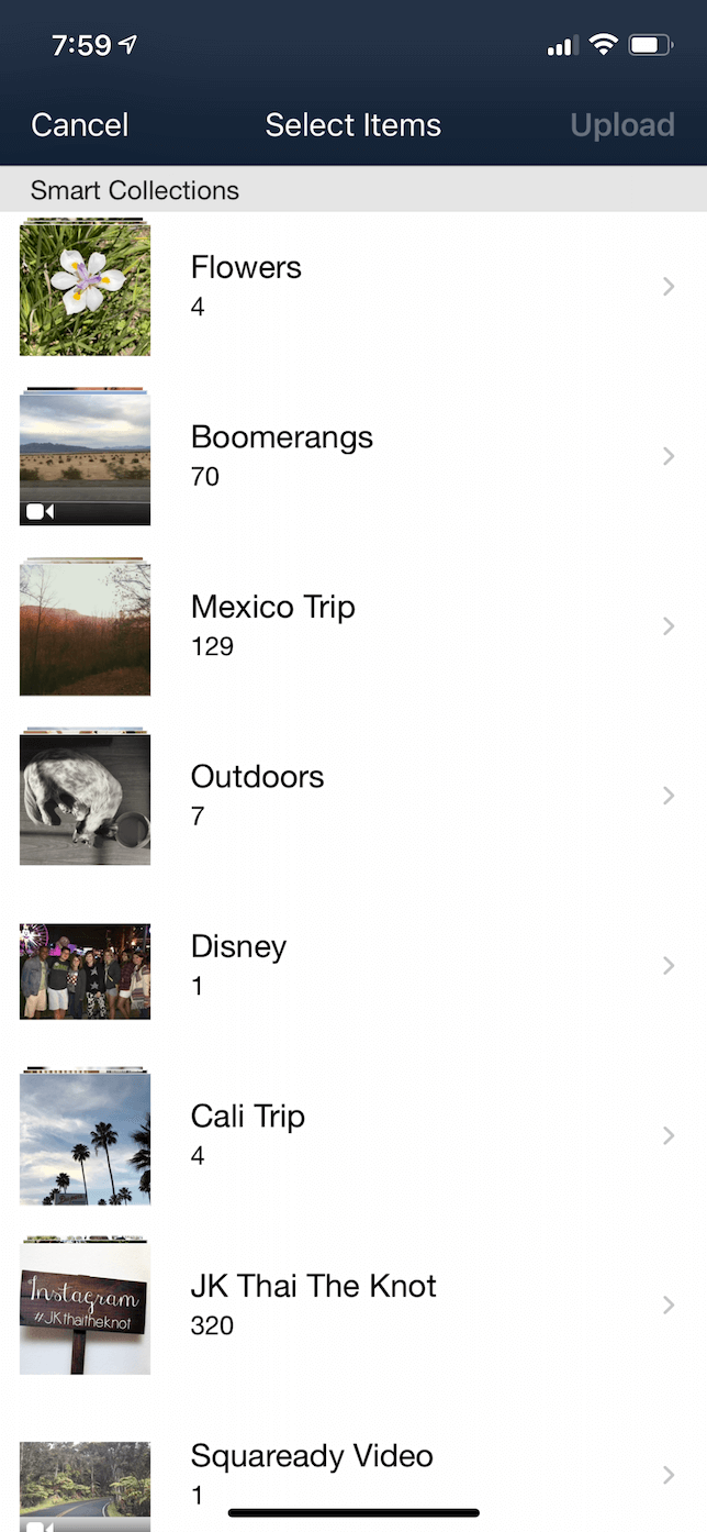 Screenshot of the Upload screen in the Amazon Photos iOS app.