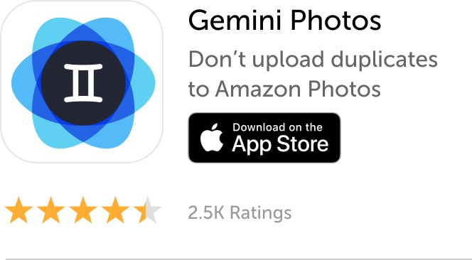 Mobile banner: Download Gemini Photos and don't upload duplicates to Amazon Photos
