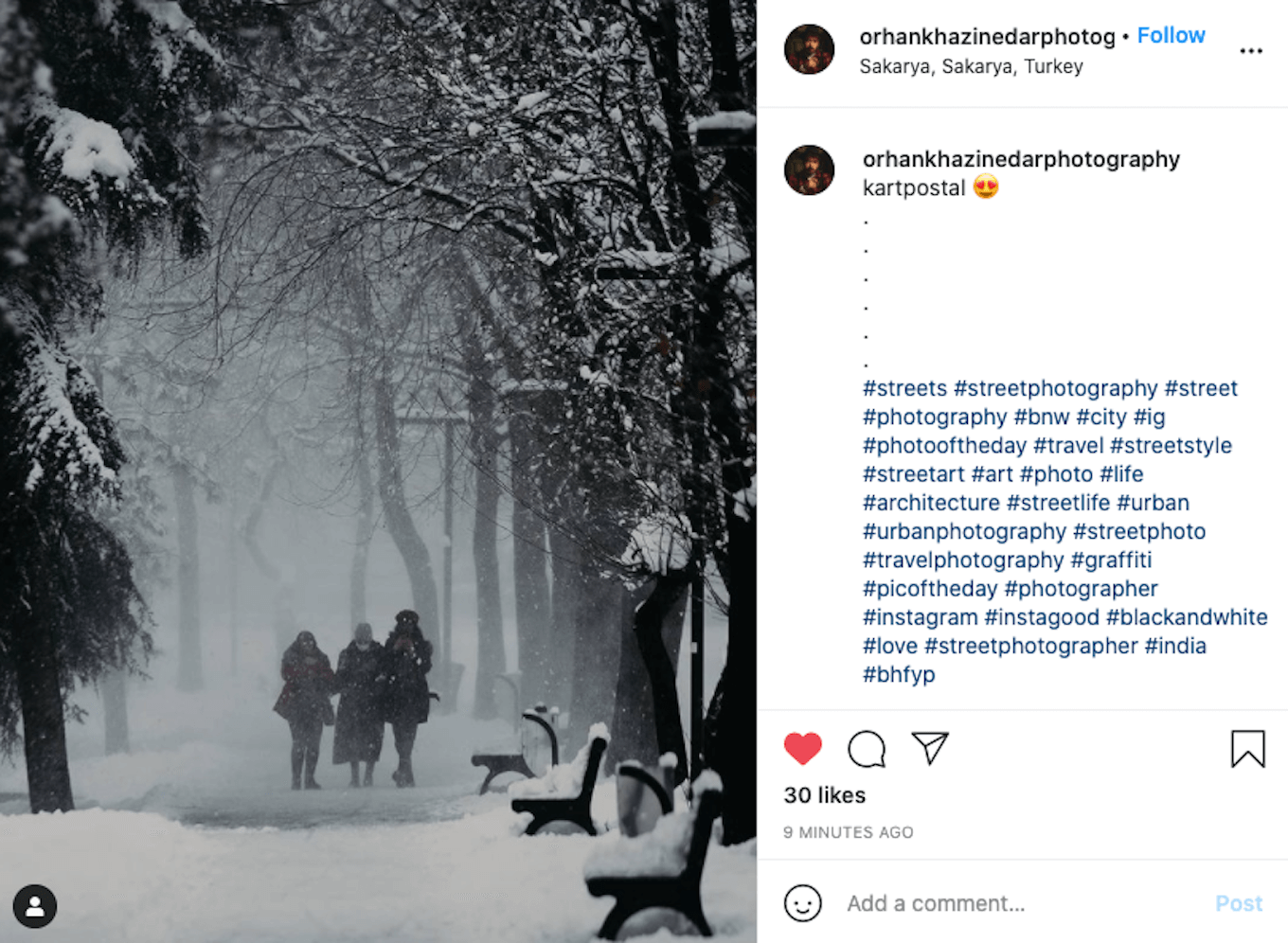 An Instagram screenshot showing good use of negative space with three people walking through the snow.
